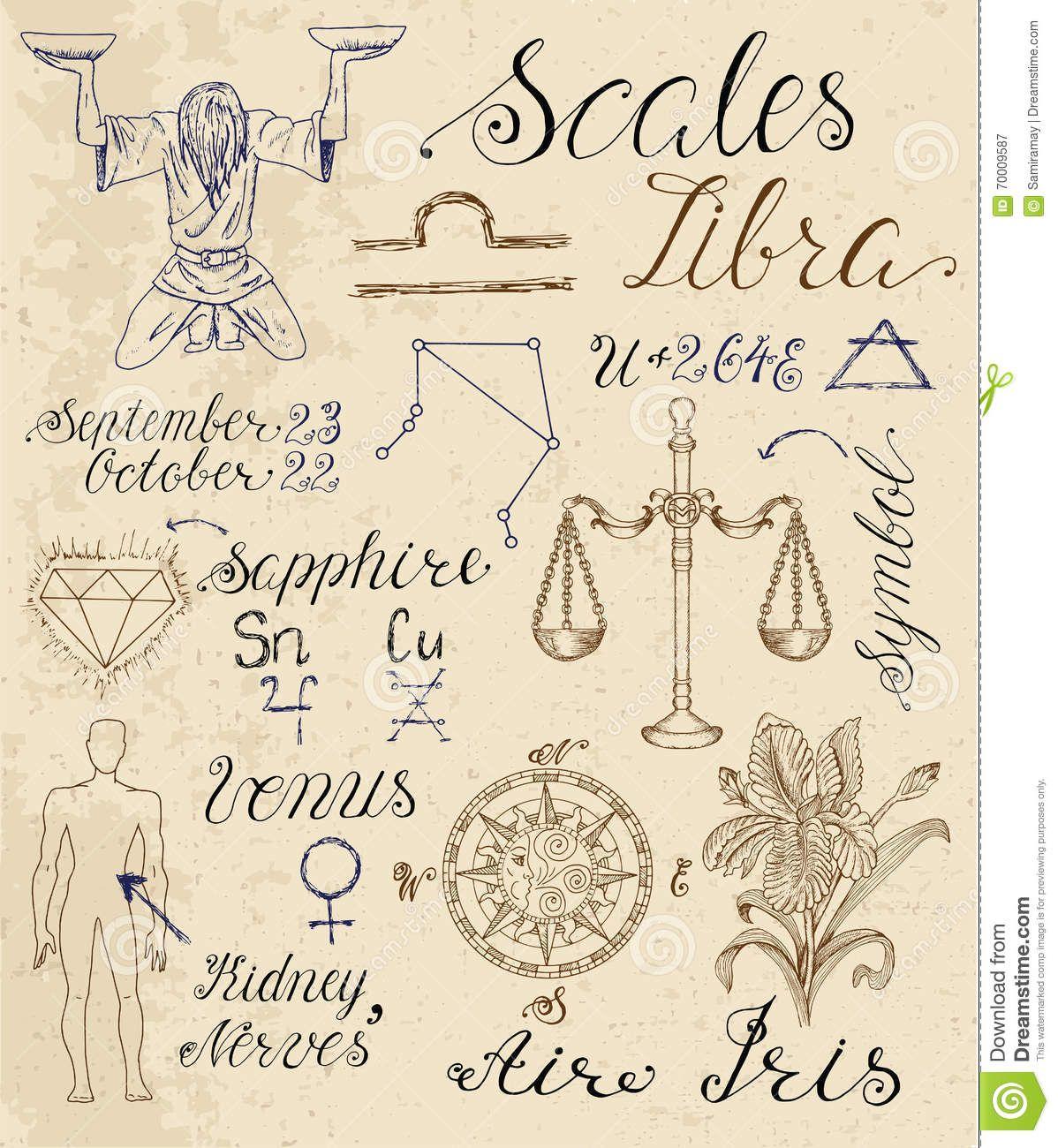 Satz Symbole Für Sternzeichen Waage Oder Skalen - Wählen Sie aus ...