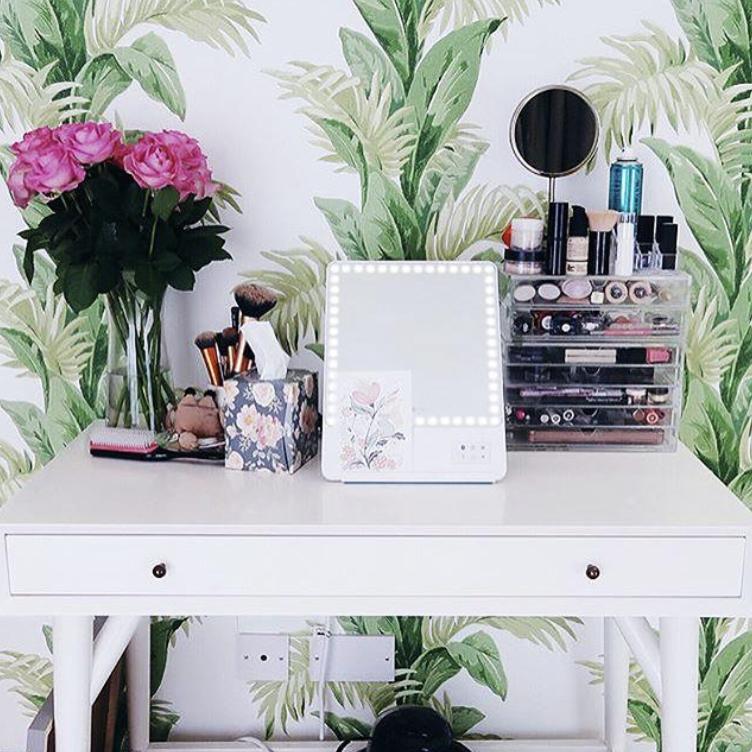 Organized vanity, palm leaf decorative wallpaper, RIKI
