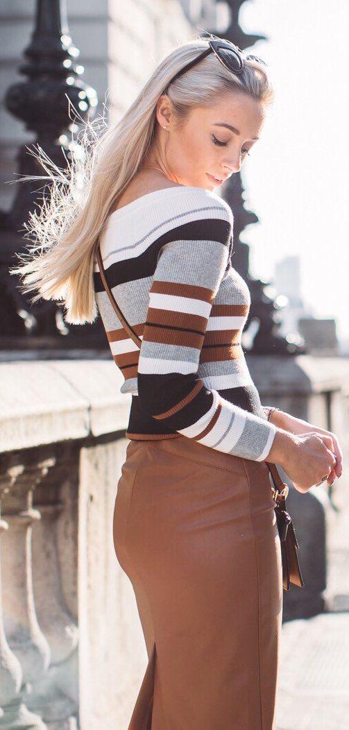 Striped Off Shoulder Knit / Brown Maxi Skirt
