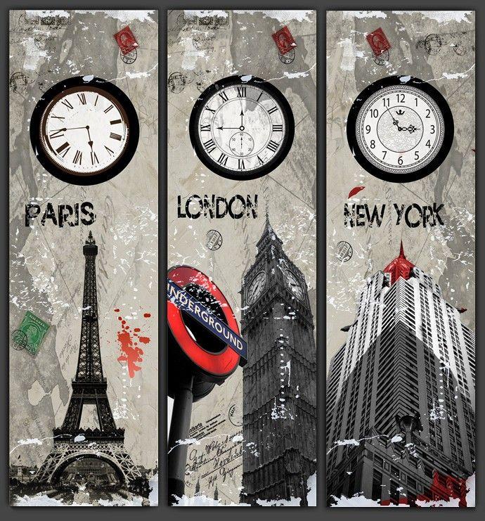 London Wall Art 3 piece wall art the paris eiffel tower,london, new york , clock