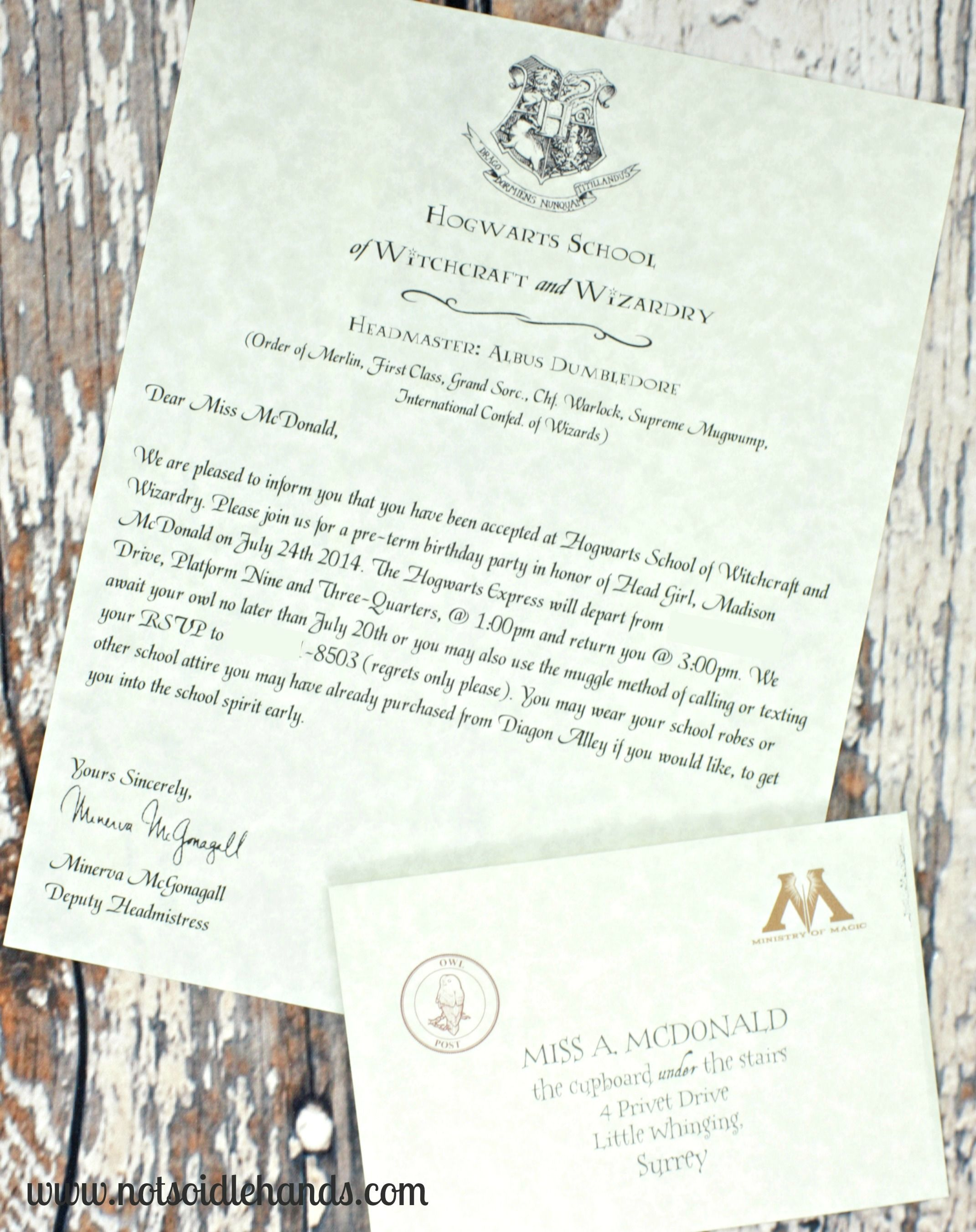 Harry potter birthday invitations and authentic acceptance letter harry potter birthday invitations and authentic acceptance letter and party part 1 notsoidlehands filmwisefo Image collections