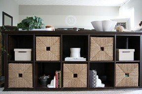 Image Result For Baskets For Ikea Hemnes Console Table Kid Friendly Family Room Living Room Storage Couch Storage