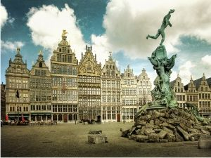 The statue of Brabo in beautiful Antwerp, Belgium, where my fiancé is from