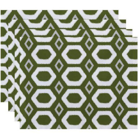 Simply Daisy 18 inch x 14 inch More Hugs and Kisses Geometric Print Placemat, Green