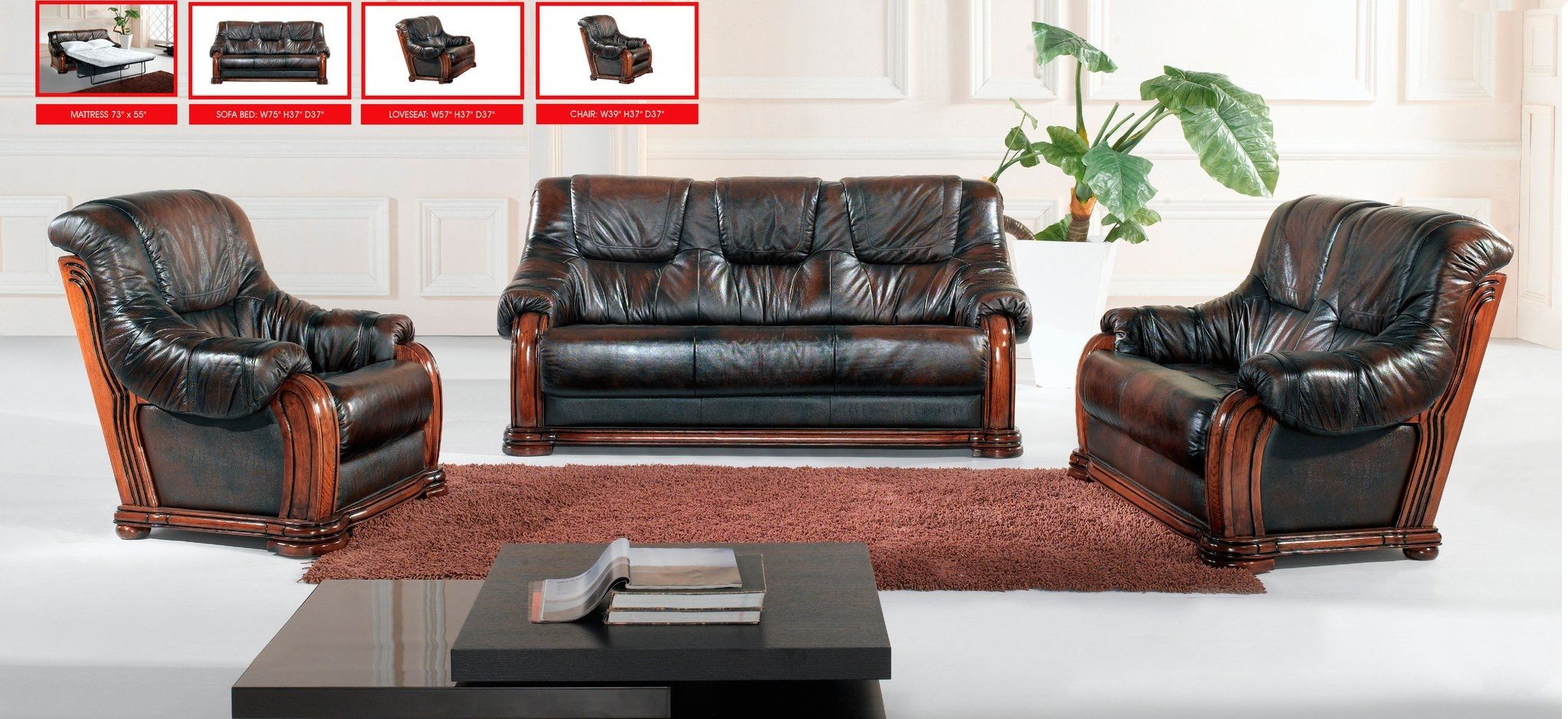 Leather Sofas With Wood Trim 3 Pc Ho11 S Genuine Leather W