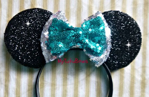 READY to SHIPMinnie Mouse Ears Headband Black Shimmering Ears with Double Turquoise and Silver Sequin Bow Fits Adults and Children