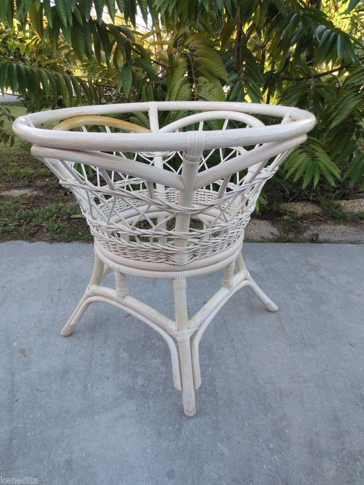 White Rattan Round Dining Table Base Bamboo Beach Cottage Tropical