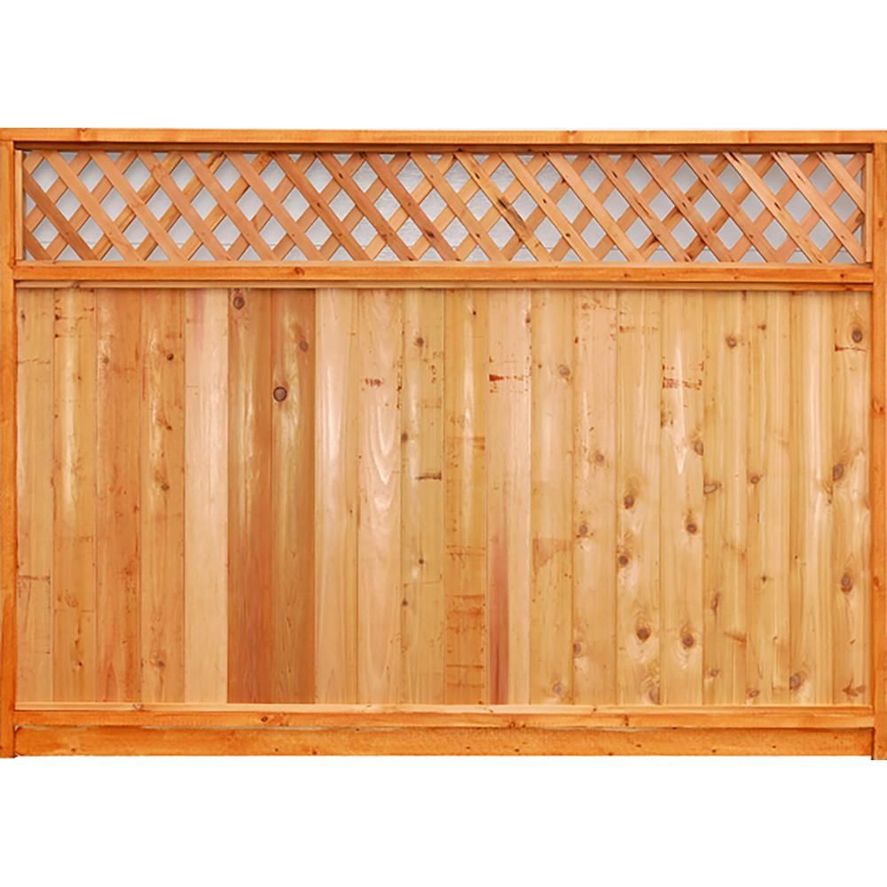 Null 6 Ft X 8 Ft Premium Cedar Lattice Top Fence Panel With