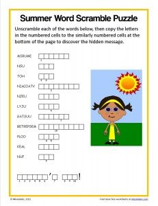 Free summer word scramble puzzle.