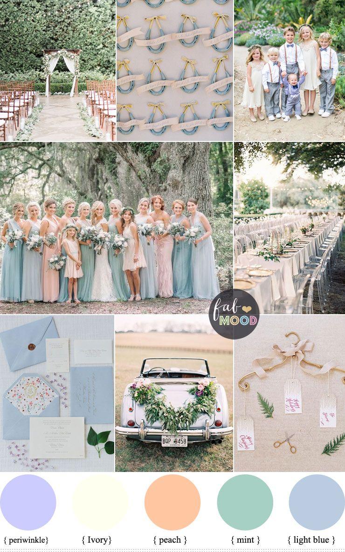 Pastel Wedding Theme Periwinkle Ivory Peach Mint Light Blue