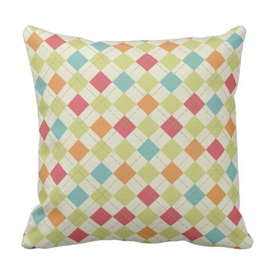 Teal, Lime Green, Red, Pink, Orange Argyle Throw Pillow | Zazzle