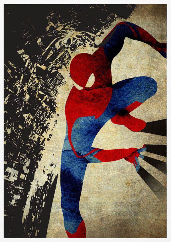 Super Heros Posters Vintage Batman Spider Man Iron Superman