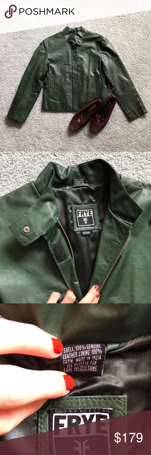 FRYE green leather motorcycle jacket NEW szM (With images