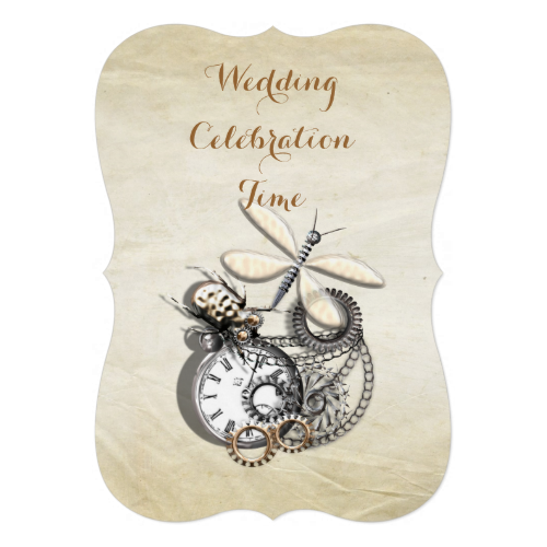 A vintage steam punk inspired wedding invitation with silver pocket watch, cogs, chains and mechanical dragonfly and beetle on a distressed background. Such an unusual vintage Steam Punk look it's bound to impress your guests and set the tone for your perfect wedding day. #steam-punk #vintage #steam-punk-theme #unusual-wedding-themes #steam-punk-celebrations #mechanical #cogs #pocket-watch #dragonfly #beetle #vintage-watch #steam-punk-watch #steam-punk-invitations #steam-punk-invites ...