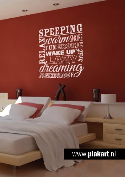 ontwerp muursticker muurtekst sleeping slaapkamer
