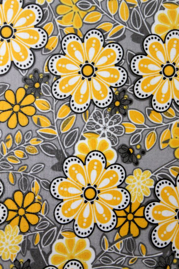 Flower Fabric Canvas Wall Art Black Yellow Gray By Aquaxpressions