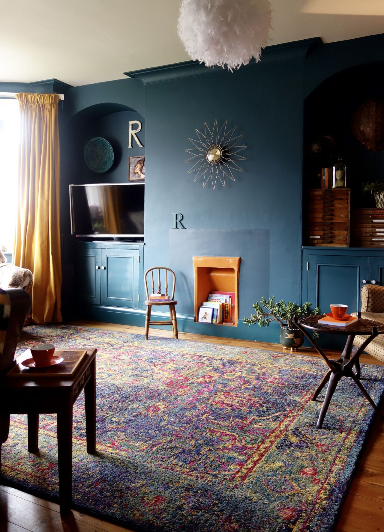 Blue And Forest Green Living Room an eclectic living room - final reveal | dark green walls, making