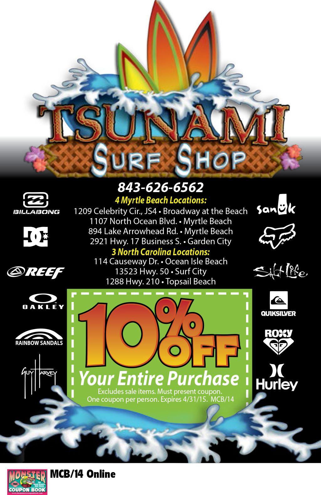 Tsunami Surf Shop Myrtle Beach Resorts Myrtle Beach Resorts Myrtle Beach Broadway At The Beach