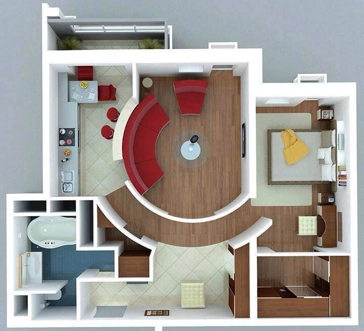 Pin By Dua A Al Haddad On Houses Interior Design Tiny House Layout One Bedroom Apartment Tiny House Design