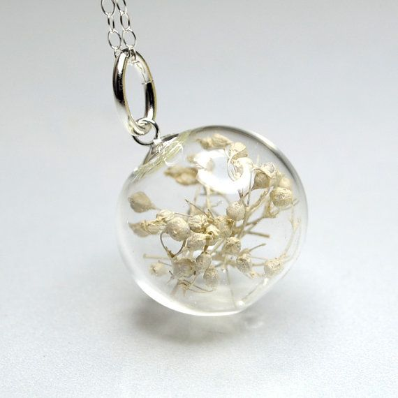 White Flower Blown Glass Ball Sterling Silver By Thestudio8 Lampwork Glass Jewelry Glass Jewelry Glass Blowing