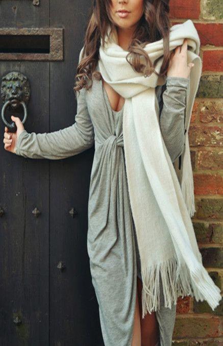 Deep V Neck High Low Dress in Grey