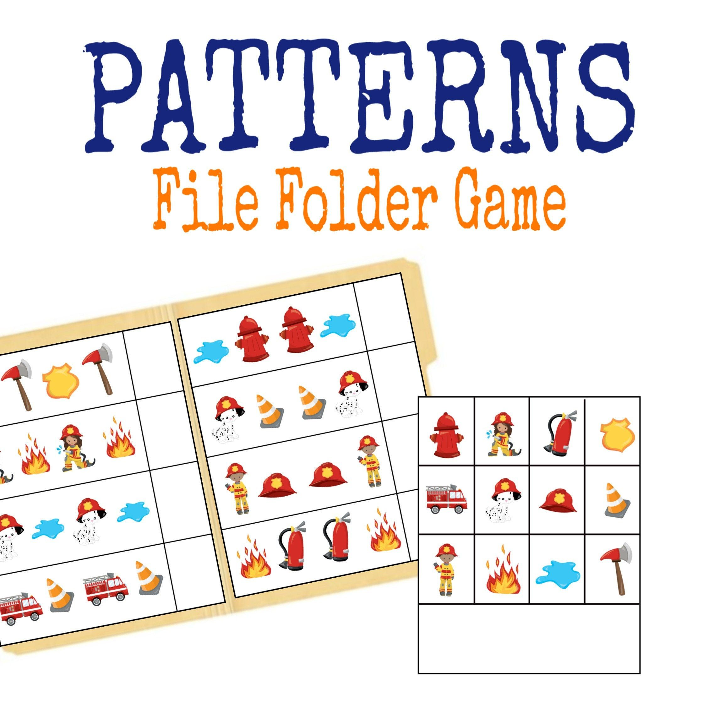 Patterns Firefighter File Folder Game Busy Binder Quiet
