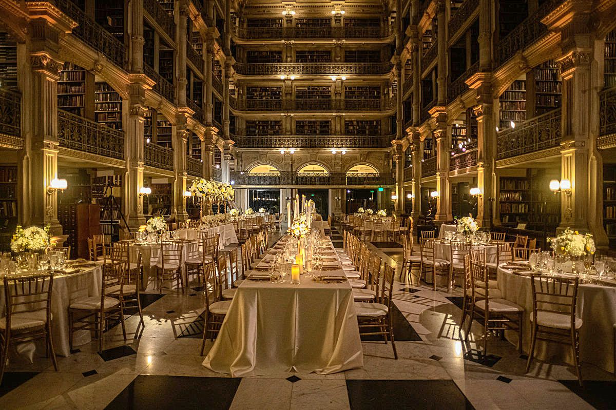 What A Fab Venue For A Wedding A Library All The Gold Accents