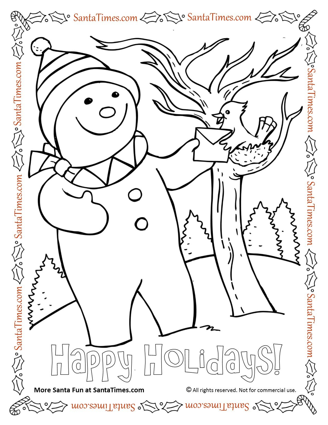 Happy Holidays Snowman And Bird Coloring Page More