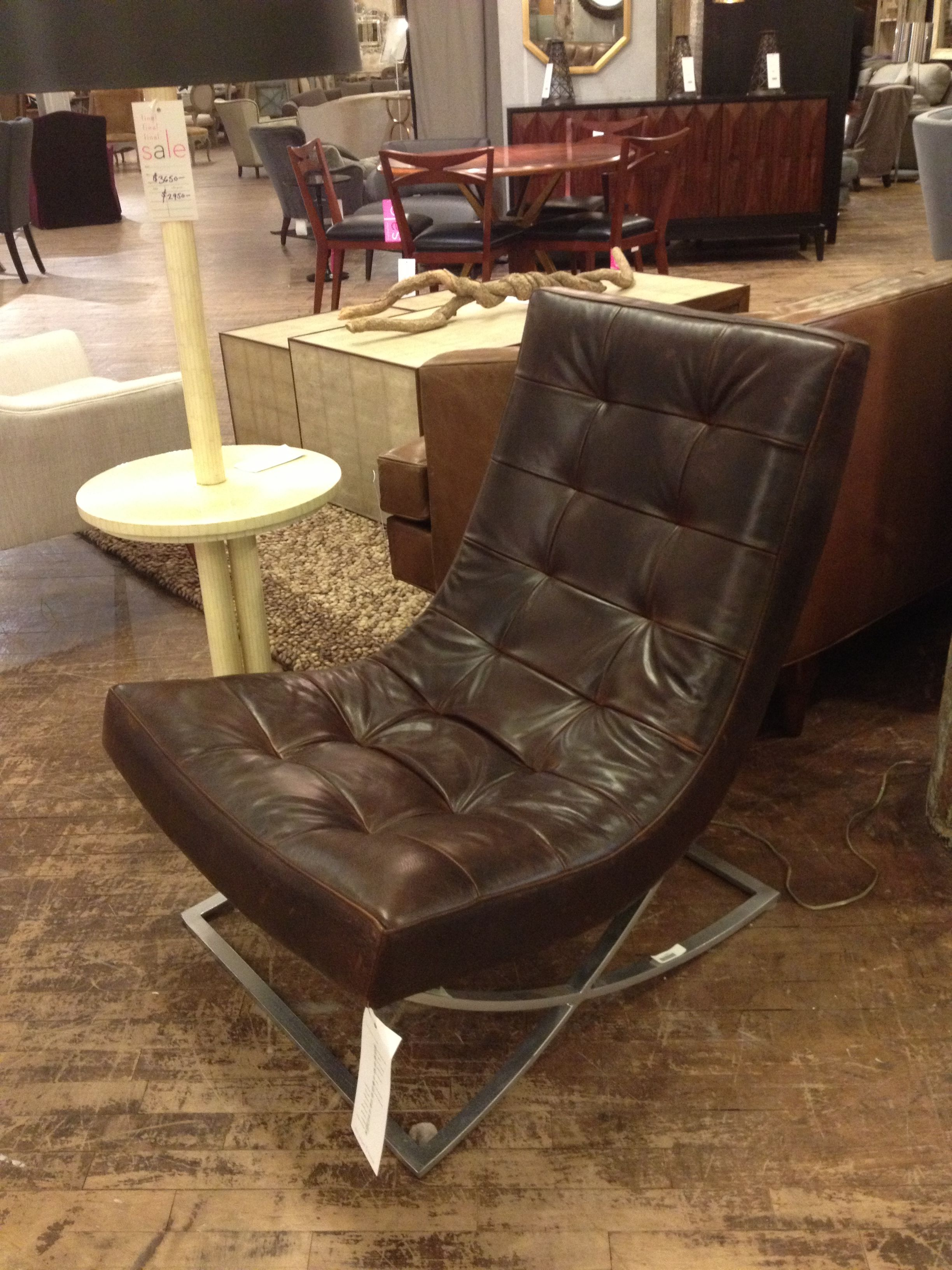 Fine Brown Leather Chair With Chrome Base Abc Home Feather Onthecornerstone Fun Painted Chair Ideas Images Onthecornerstoneorg