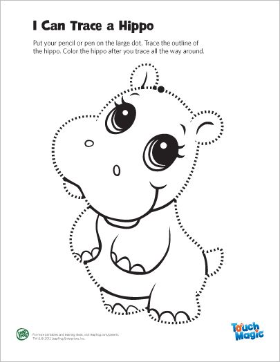 LeapFrog Printable Magic Hippo Tracing Page Trace And Color The Learning Friends Coloring Activities Strengthen Little Hand Muscles