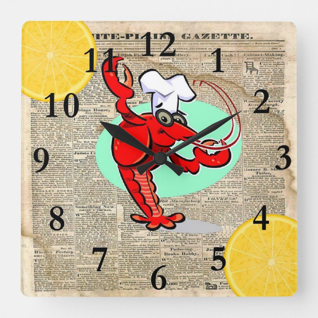 Vintage newspaper with two lemons on each corner and a crawfish with a chef hat.
