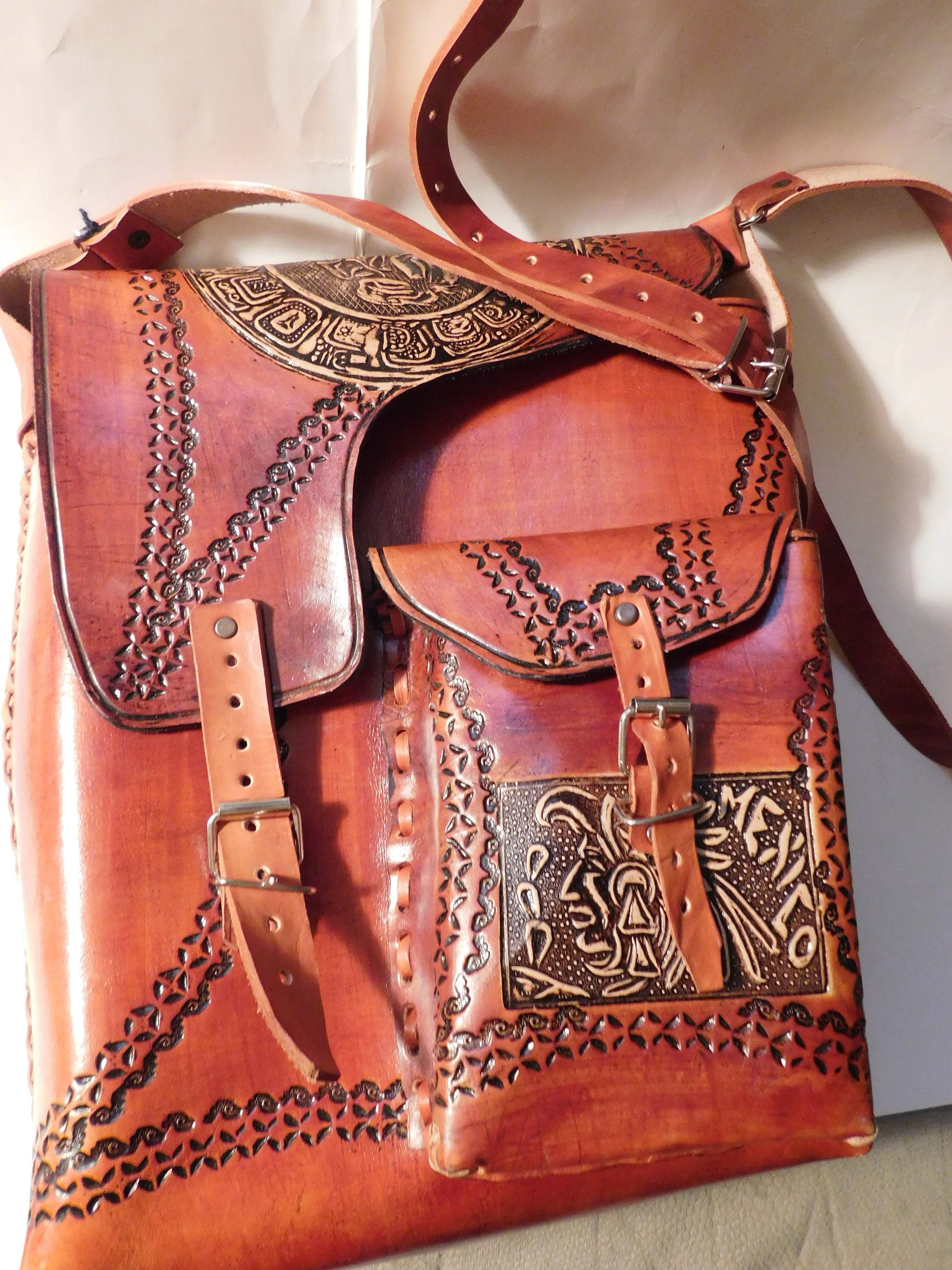 Vintage Brown Leather Mexican Beautiful Designed Handmade