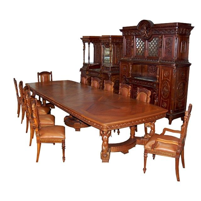 19th C Italian Carved Figural 15 Piece Dining Suite In Mannerist