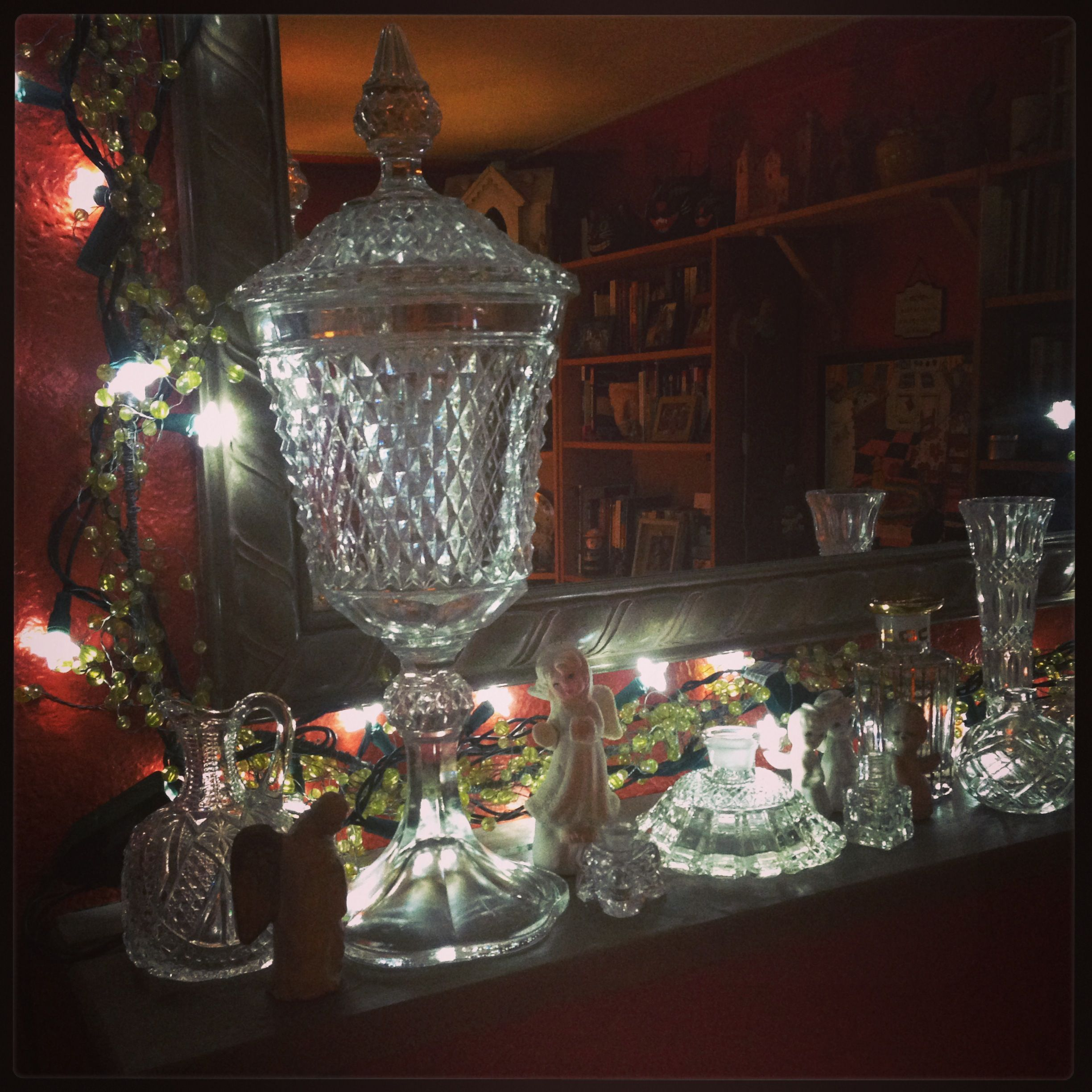 Crystal collection, shining for Christmas on the mantel.
