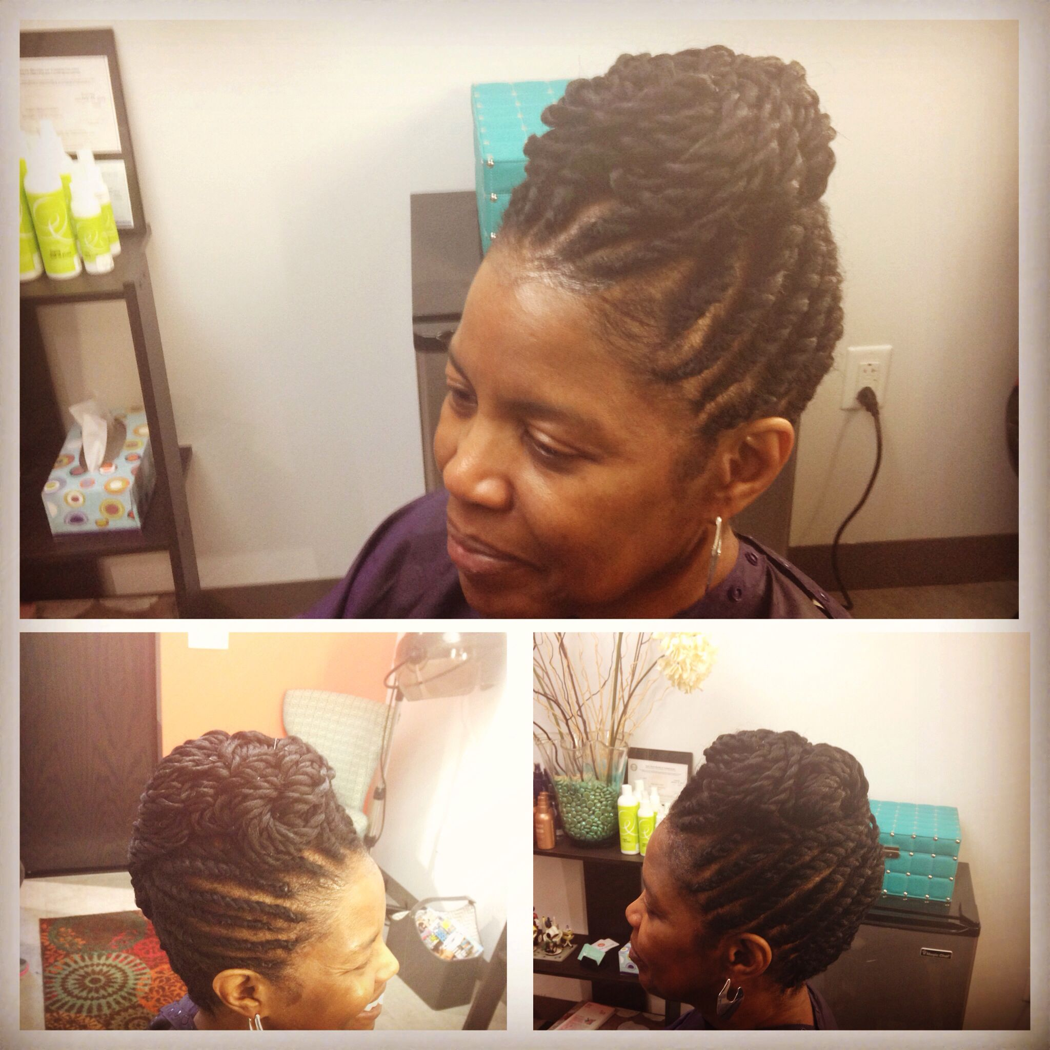 Flat Twist Updo With Extensions Ready For Her Black Tie Affair