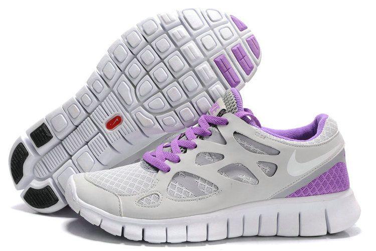 Nike Free Run 2 Mesh Dames Lichtgrijs Purper Wit #nike ...