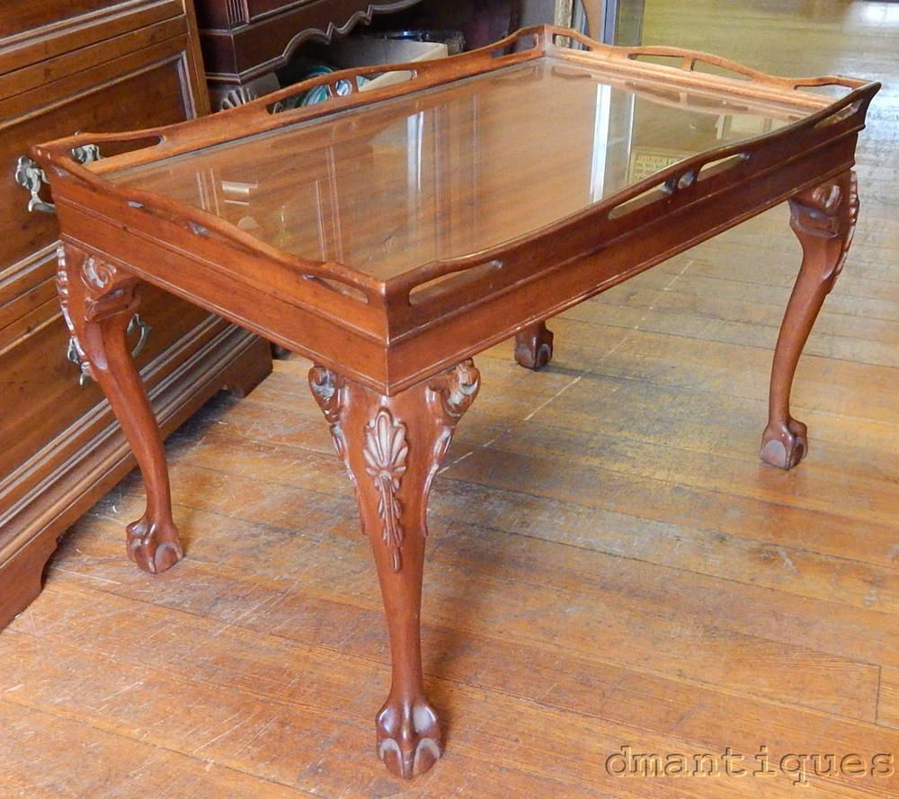 Antique Mahogany Tea Coffee Table Carved Fl Ball Claw Foot Gl Top Tray