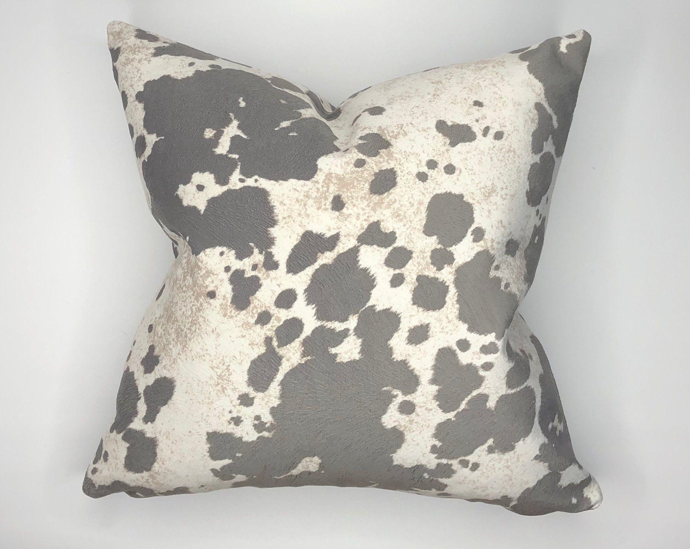 "Animal Print Throw Pillow | Accent Pillow | Decorative Throw Pillow | Cow Pillow Cover | Gray and White Throw Pillow | 18"" Pillow Cover"
