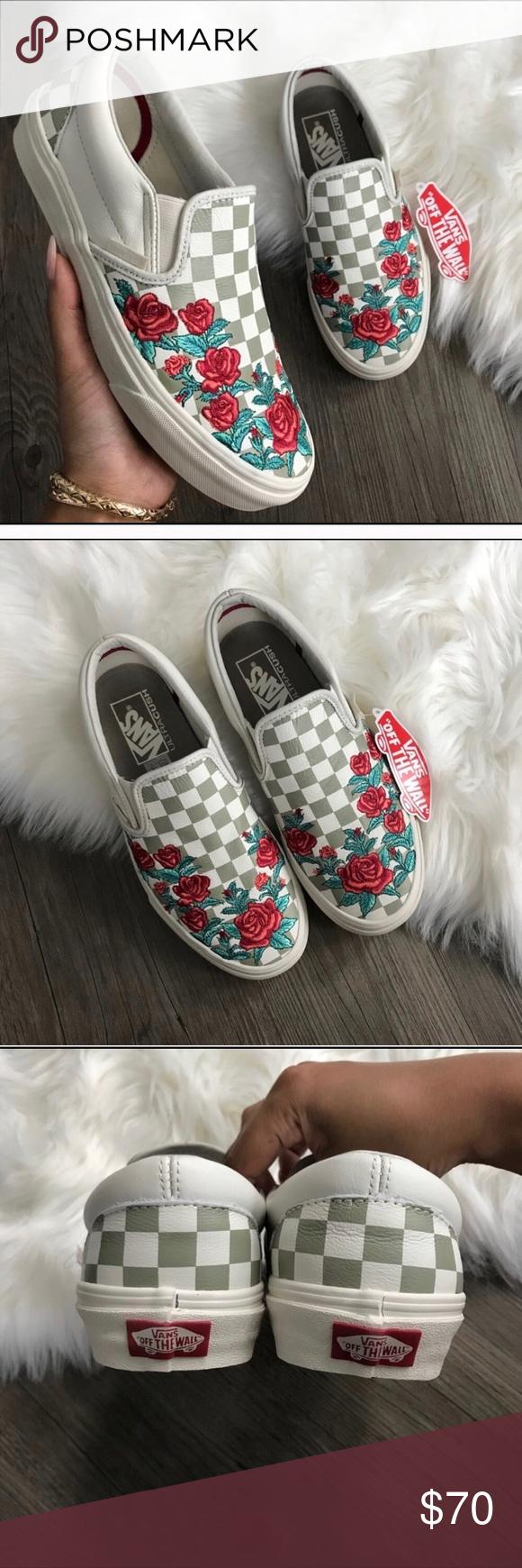 Floral print checkered vans🌹 | Vans