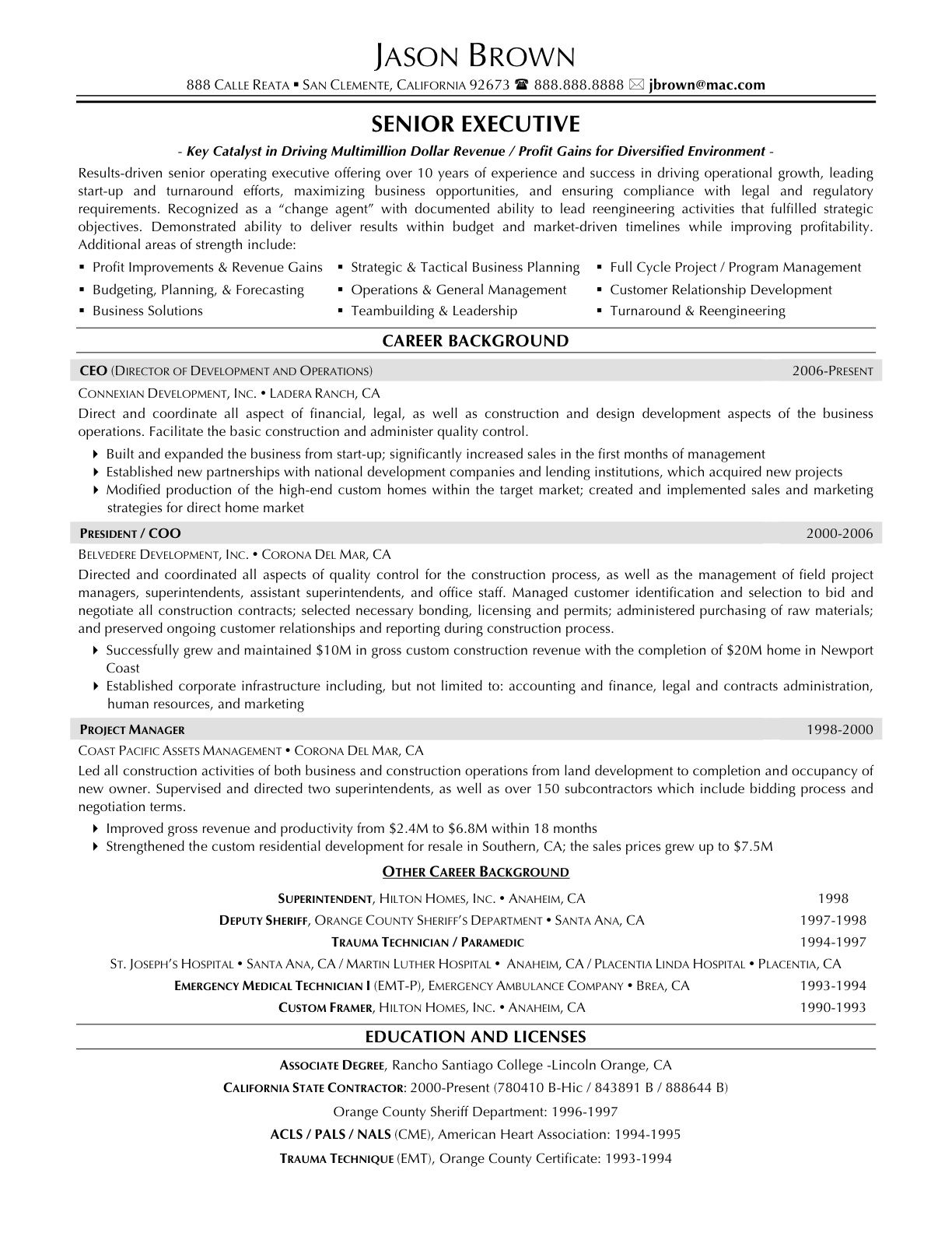 Free Senior Operations Executive Resume   HttpTopresume