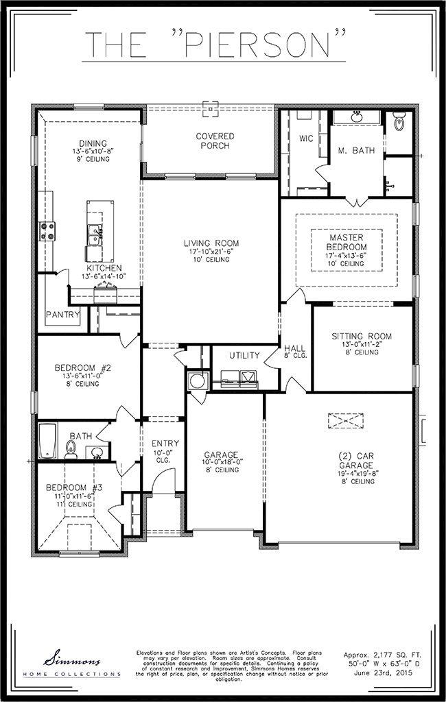 Simmons Homes Pierson Floor Plan 2 177 Sq Ft 3 Bedrooms 2 Bathrooms 3 Car Garage New Homes Tulsa Okla Floor Plans Home Builders House Floor Plans
