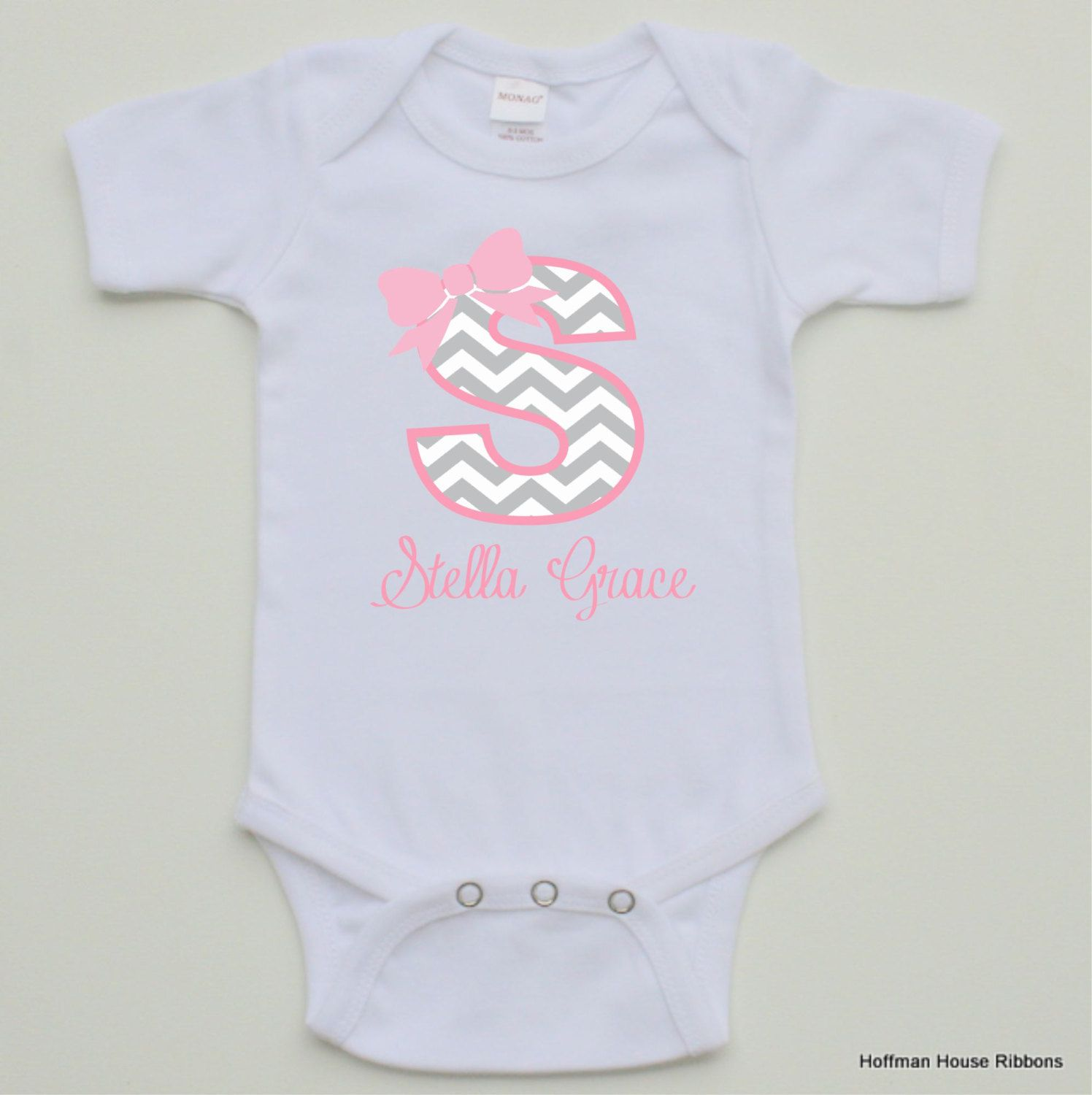 Personalized Monogrammed Baby Girl esie by