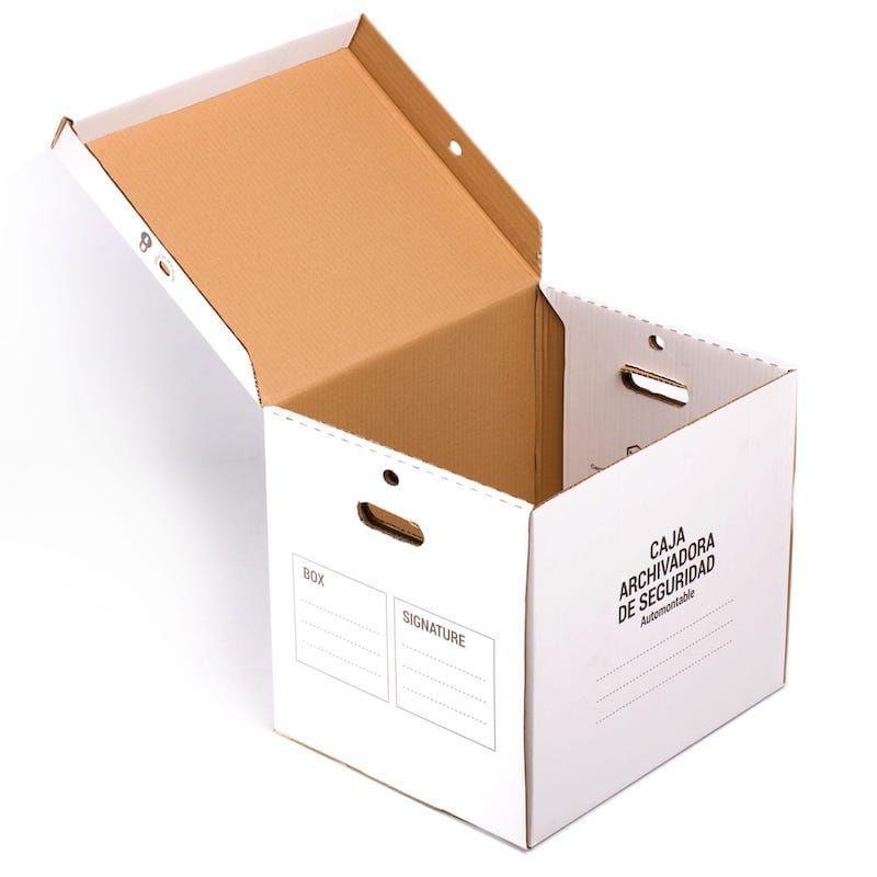 Caja Archivadora 46x37x40 Cms De Seguridad Grande Caja Archivo Seguridad Caja De Cartón Archivadora Blanca Cajas De Archivo Cajas Cajas De Carton Corrugado