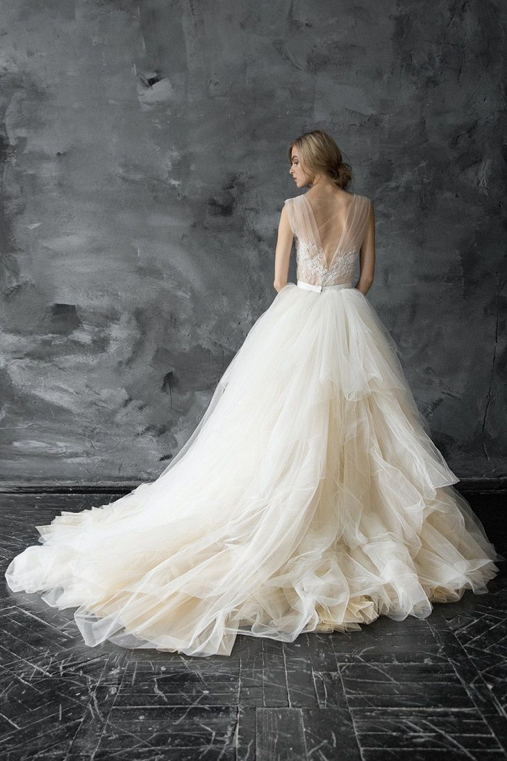 Champagne tulle wedding gown #weddingdress #weddingdresses #weddinggown #bridalgown