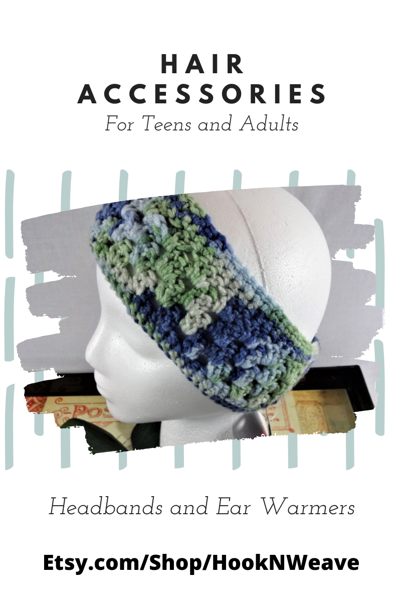 Blue /& Green Crochet Ear Warmer Headband