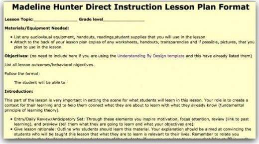 Madeline Hunter Lesson Plan Template Doc Image Gallery  Hcpr