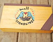 Little wooden box for small Treasures Painted love birds.  $10.99