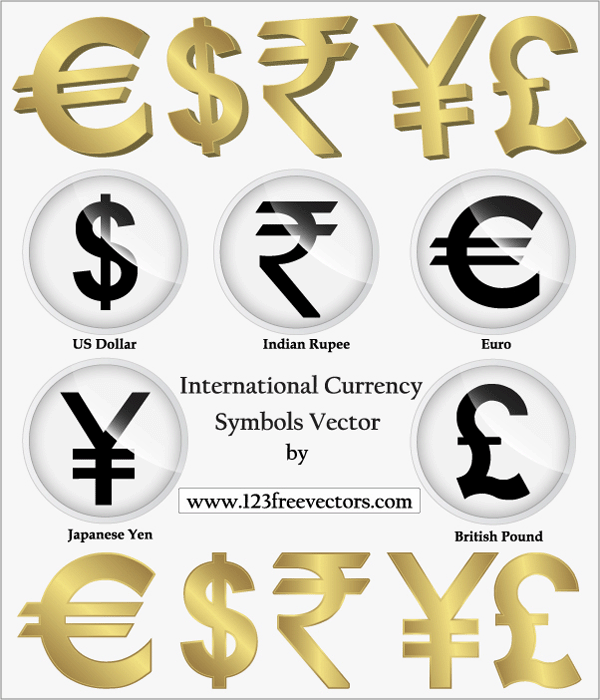 International Currency Symbols Vector Laima Pinterest Currency