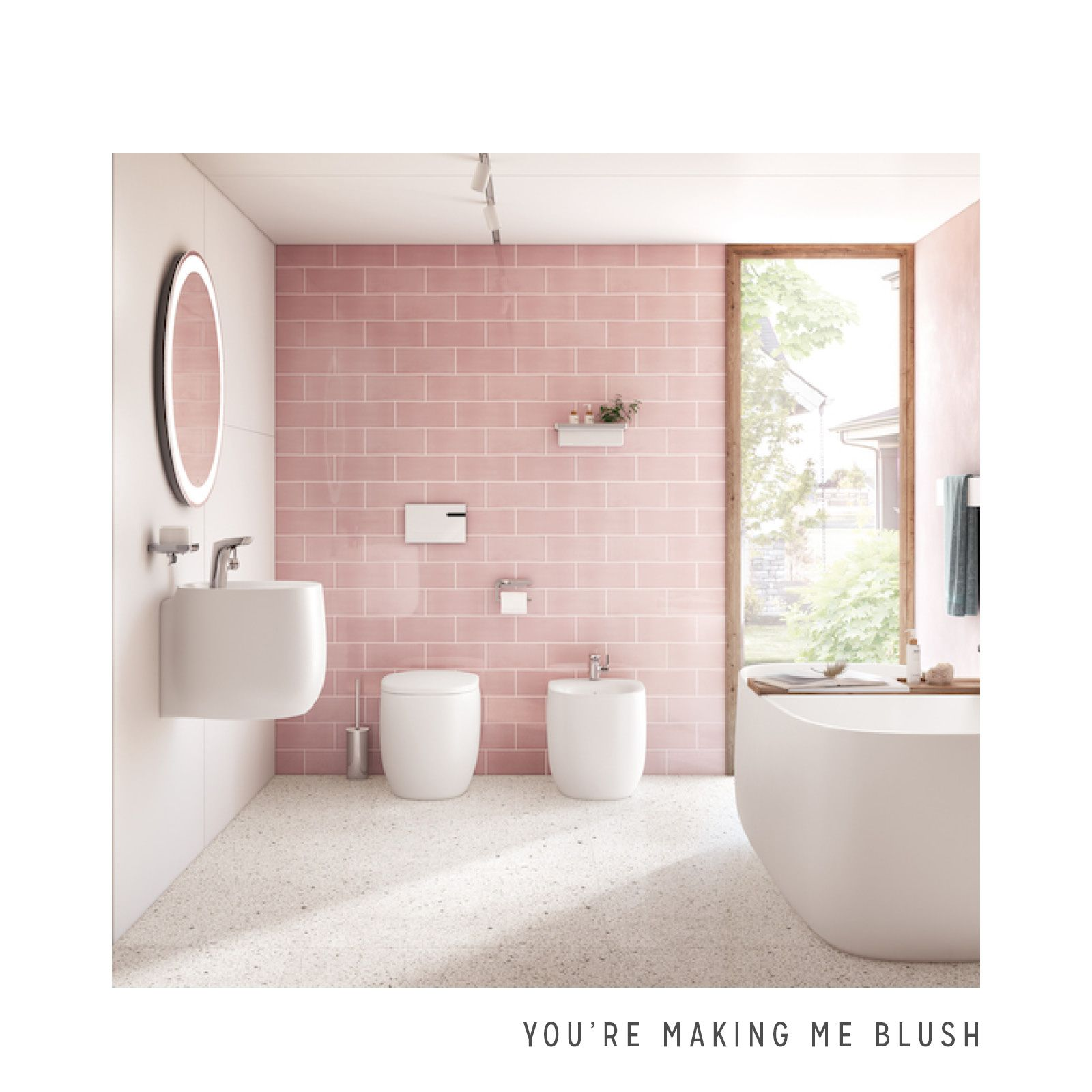 Blush Pink Wall Tile Tiny House Bathroom Pink Bathroom Decor Pink Bathroom Tiles