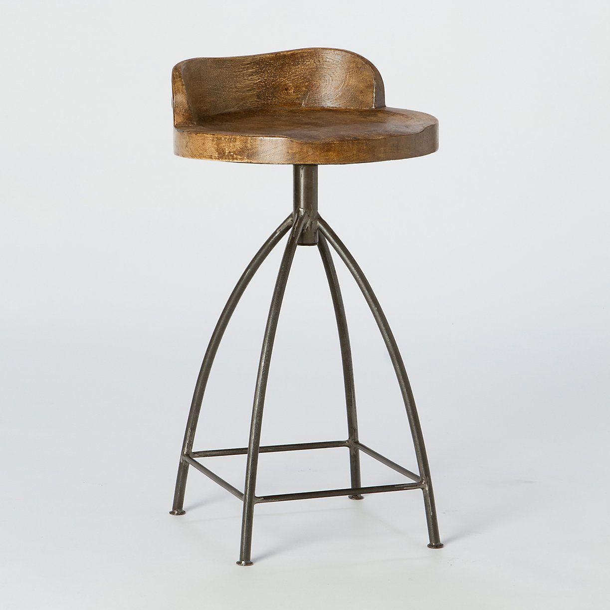 Mango wood swivel bar stool